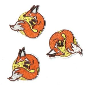 SLEEPY MOON FOX EMBROIDERED PATCHES IRON ON 3-PACK